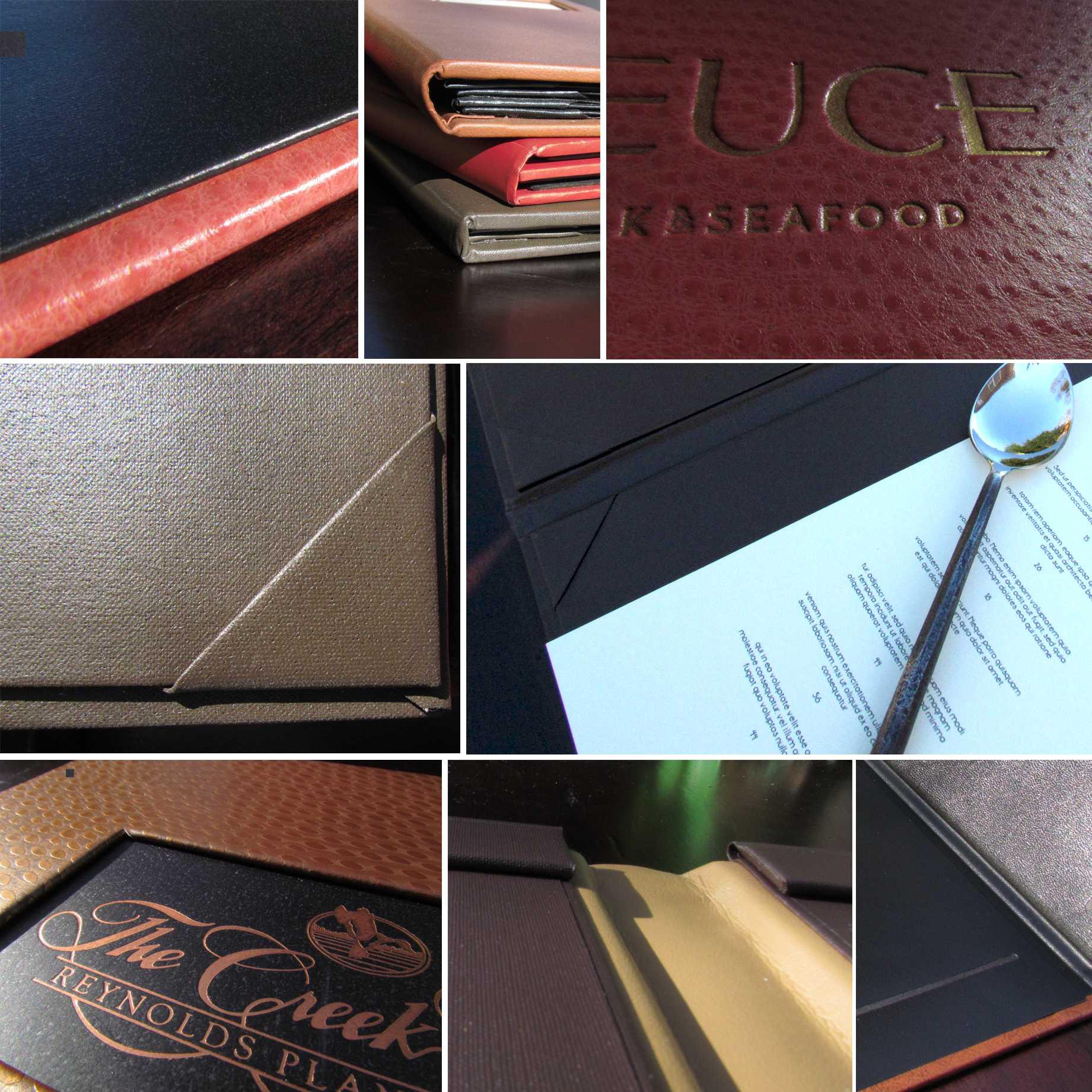 leather menu cover, custom leather menu cover, personalized leather menu cover, hotel menu cover, restaurant menu cover