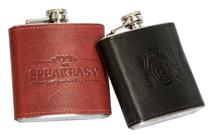 custom leather flask, personalized leather flask, corporate gift
