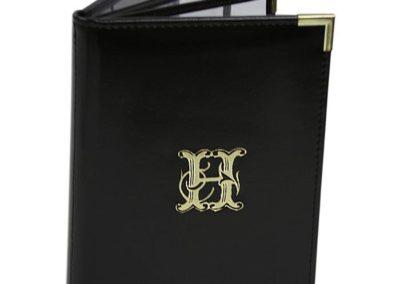 debosssed foil leather menu cover