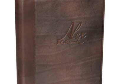 leather debossed multi page menu