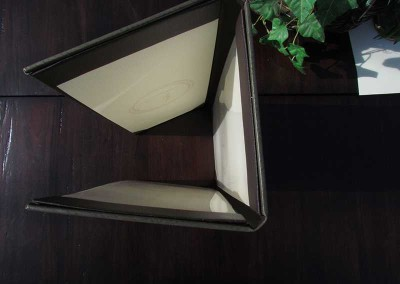 tri fold leather menu cover