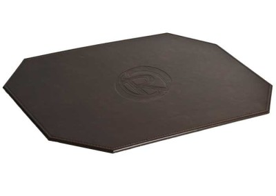brown placemat leather mitered